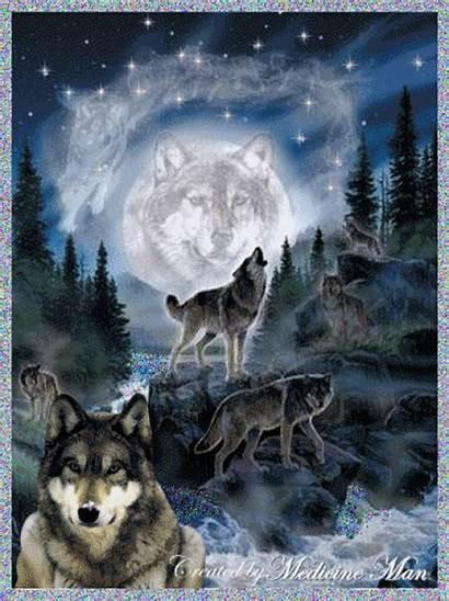 Wolf Wolves Animated Spirit Google Glitter Moon