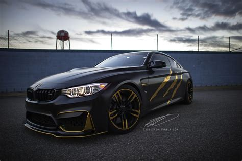 Bmw M4 In Matte Black And Gold Chrome By Impressive Wrap
