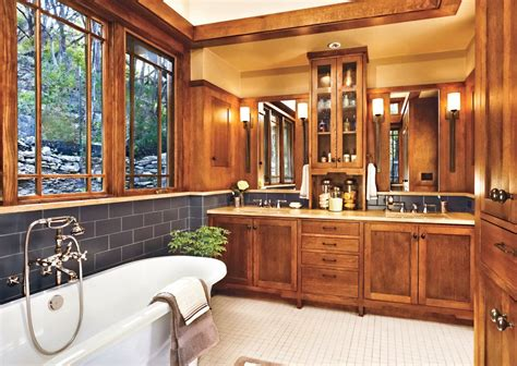 Bathroom One Level Craftsman House Plans Mission Style