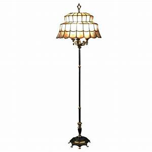 French capiz oyster shell floor lamp at 1stdibs for Gold shell floor lamp