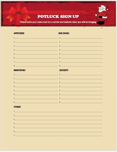 13 gorgeous christmas potluck signup sheets to impress your guests demplates
