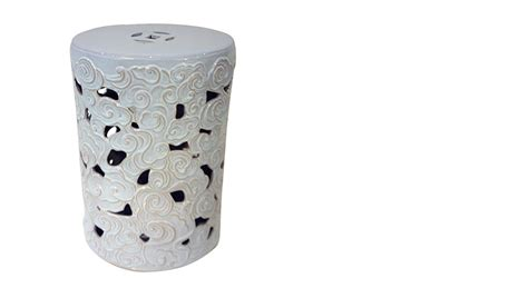 White Cloudy Stool - white carving ceramic stool patterned stool