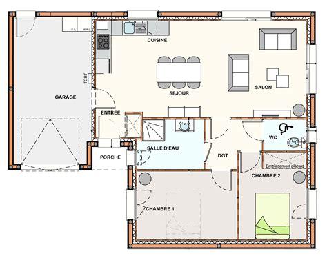 plan plain pied 2 chambres construction maison la roche sur yon construction maison