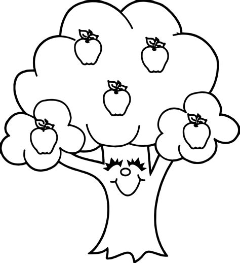 Funny Apple Tree Coloring Page Wecoloringpagecom