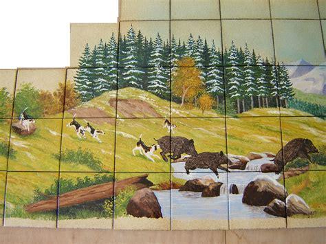 decoration des cuisines modernes paysage sur faïence décor moderne fresque sur carrelage