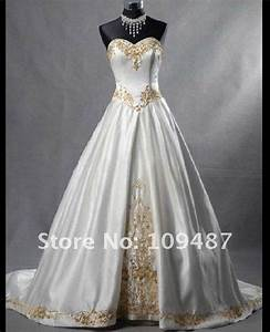 new popular gold embroidered satin tail wedding dress in With gold embroidered wedding dress