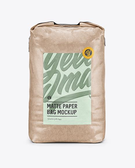 The items are presented in a half side and front views. 3 kg Kraft Paper Bag Mockup - Front View in Bag & Sack ...