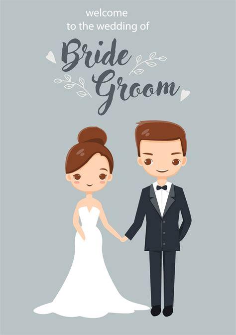 cute bride  groom  wedding invitations card