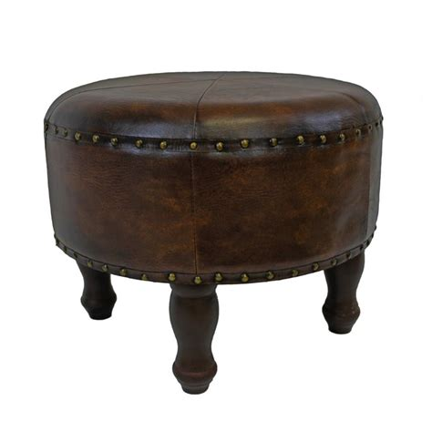 small round leather ottoman faux leather 20 quot round ottoman in brown ywlf 2524 br