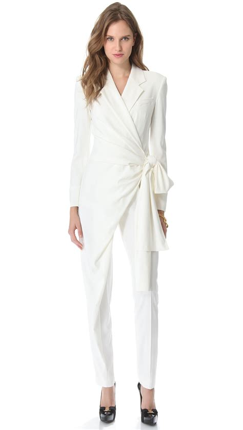white sleeve jumpsuit viktor rolf sleeve bow jumpsuit in white lyst