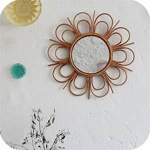 Petit Miroir Rotin : mobilier vintage miroir rotin forme fleur atelier du petit parc ~ Melissatoandfro.com Idées de Décoration