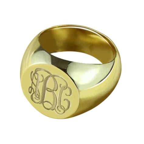 engraved circle monogram signet ring  gold plated