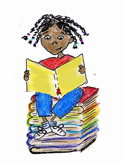 Reading Books Clipart Children Summer Library Looking