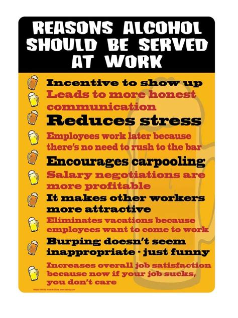 reasons alcohol   served  work metal sign