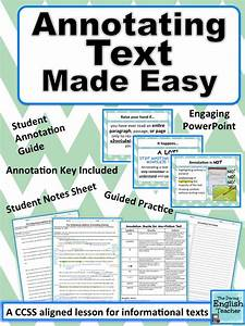Annotating Text Made Easy - CCSS aligned | High school ...