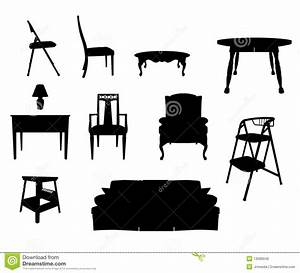 Furniture Silhouettes stock vector. Image of icons, chair ...