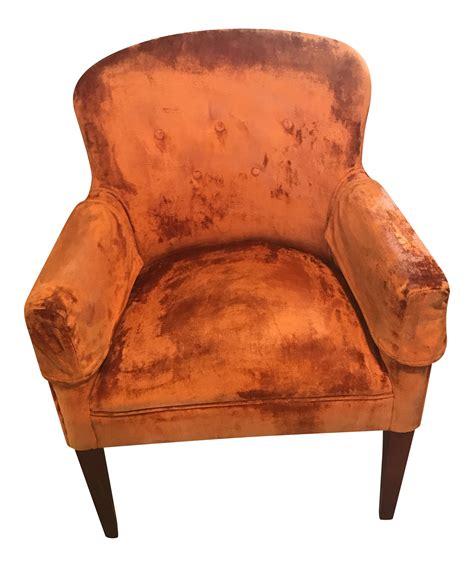 burnt orange velvet chair vintage chairish