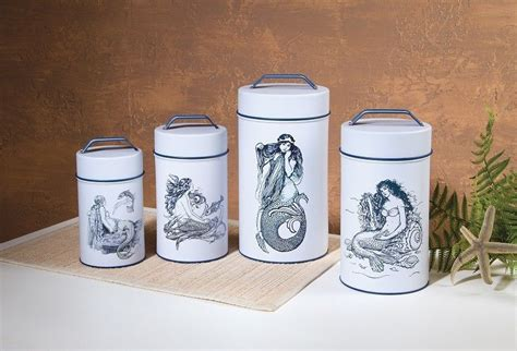 tin kitchen canisters metal kitchen canister set retro vintage coffee tea 4 canisters quot mermaid quot ebay
