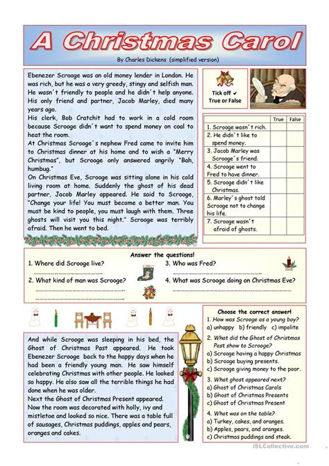 christmas carol simplified version key included