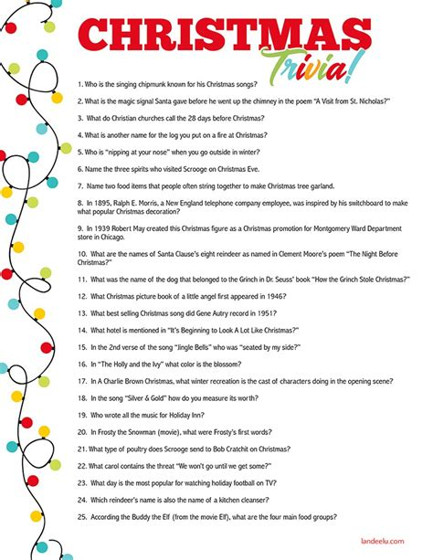 Christmas Trivia Game Perfect For Christmas Parties! Printable Fun Trivia