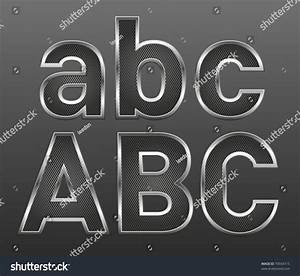 vector metal letters and numbers big and small set With aluminum letters and numbers