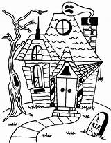 Haunted Coloring Halloween Pages Printables Outline Printable Drawing Cartoon Scary Castle Simple Getdrawings Blank Getcoloringpages Getcolorings Drawn Comments sketch template