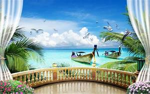 3d wallpapers window balcony scenery wallpaper 3d living for Markise balkon mit tapete gothic