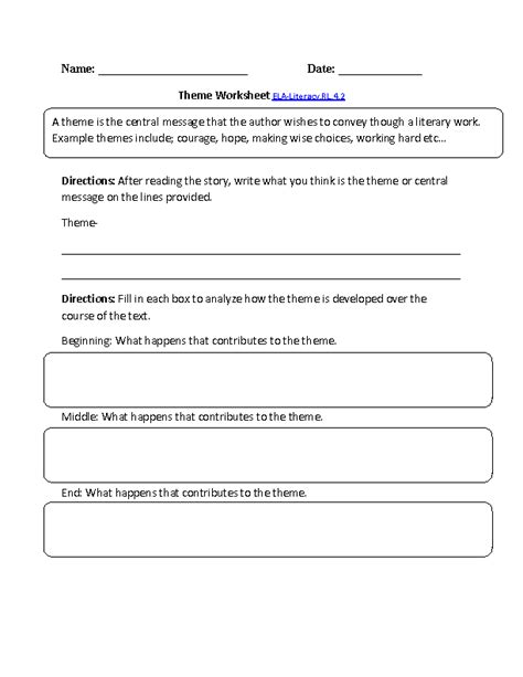 4th grade common reading literature worksheets