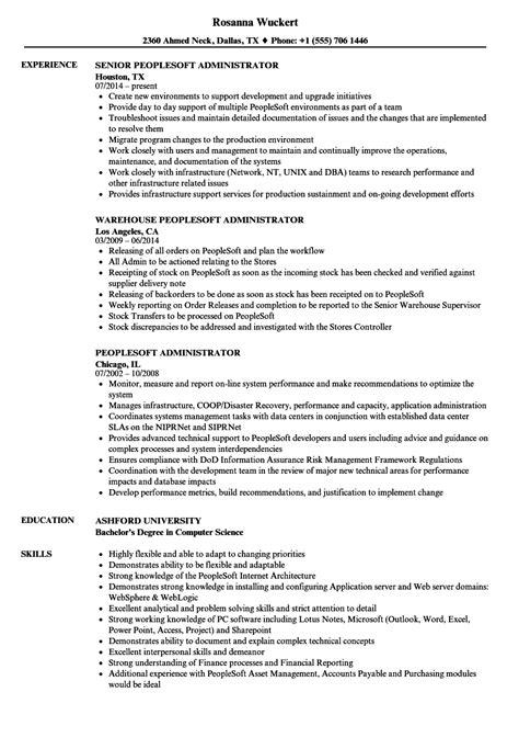 Resume Peoplesoft by Peoplesoft Administrator Resume Sles Velvet