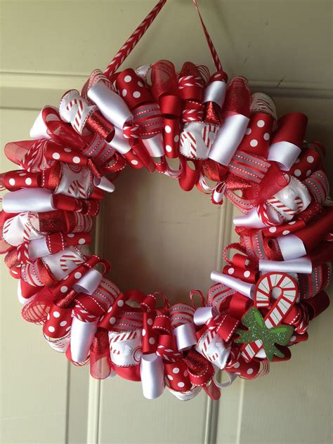 katies ribbon wreaths candy cane christmas wreath
