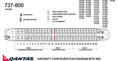 boeing 737 plan sieges qantas airlines boeing 737 800 aircraft seating chart