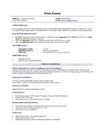 resume format doc for freshers engineers fresher resume sle