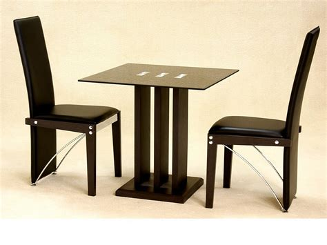 dining table set for 2 small square glass dining table and 2 chairs in black