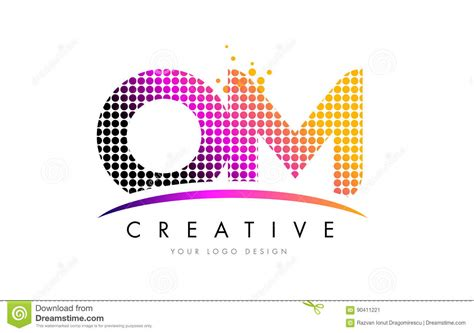 Om O M Letter Logo Design With Magenta Dots And Swoosh