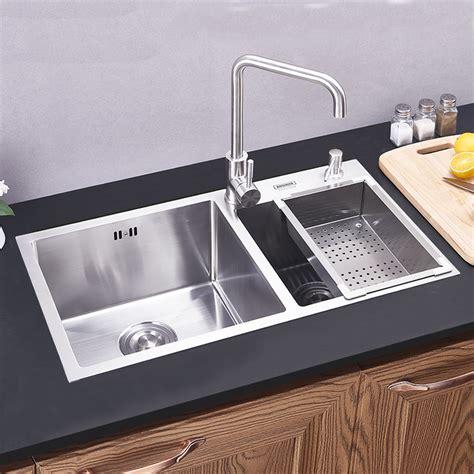 modern kitchen sink  bowls hand  brushed