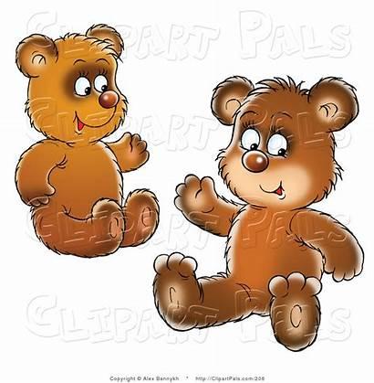 Bear Cubs Clipart Sitting Waving Brown Siblings