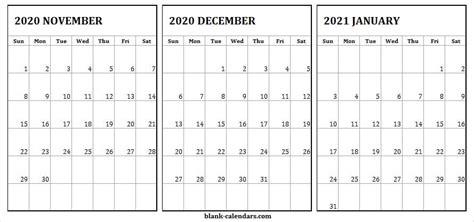 november   january  blank calendar editable