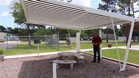 freestanding retractable awning shade structure installable    yard youtube