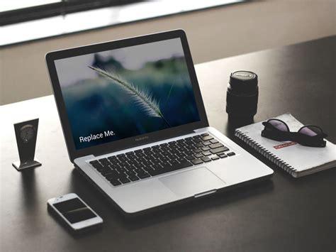 photographer desk laptop mockup mockupblast