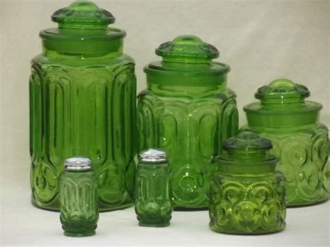 green kitchen canisters sets green glass moon pattern kitchen canisters