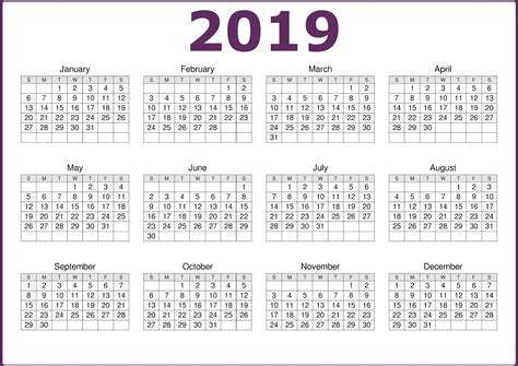 2019 One Page Printable Calendar Download