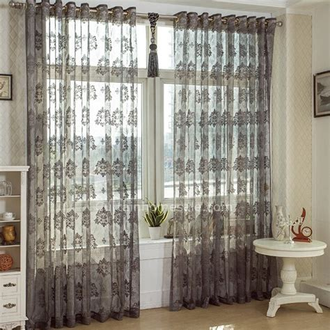 Elegant Lace Curtain In Gray Color Jacquard Craft Sheer