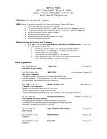 cnc machinist resume sles free resume cnc machine operator free resume templates