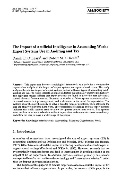(PDF) The impact of artificial intelligence in accounting