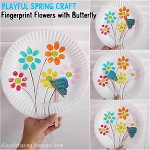 Fingerprint Flowers And Flying Butterfly