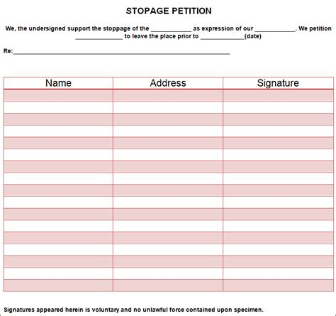 Petition Template To Print by Petition Template Free Pdf Word Documents