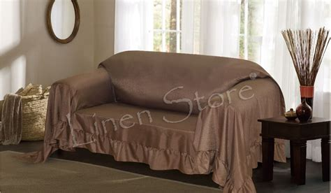 loveseat throw cover brown venice furniture throw cover fancy ruffle border