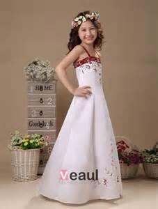 robe blanche pour mariage broderie blanche en satin robe ceremonie fille robe fille mariage 2215040018 veaul