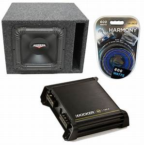 Kicker Rw10sq Car Audio Single 10 U0026quot  Vented Box Sub Square Sub Box 250 Watt Package With Dx125 2