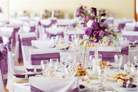 Wedding Table Decoration With Flowers. Stock Image